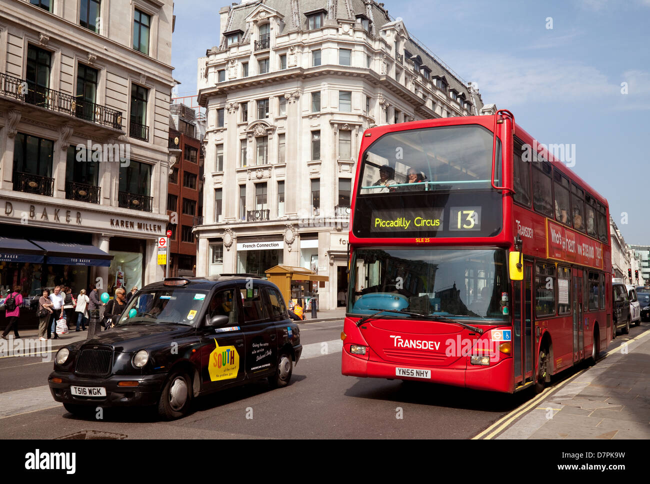London bus and taxi, Regent Street scene, central London, UK - Stock Image
