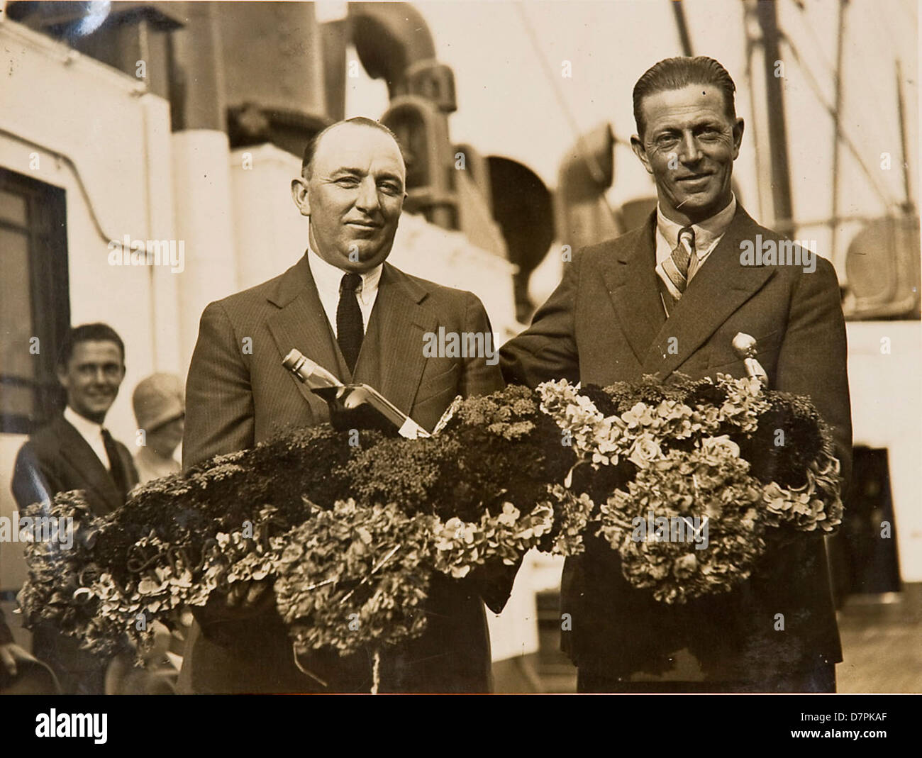 Norman 'Wizard' Smith and Don Harkness on board S.S. Maunganui - Stock Image