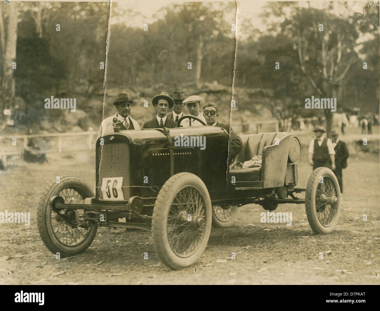 Don Harkness at the wheel of modified Overland car at race meeting - Stock Image
