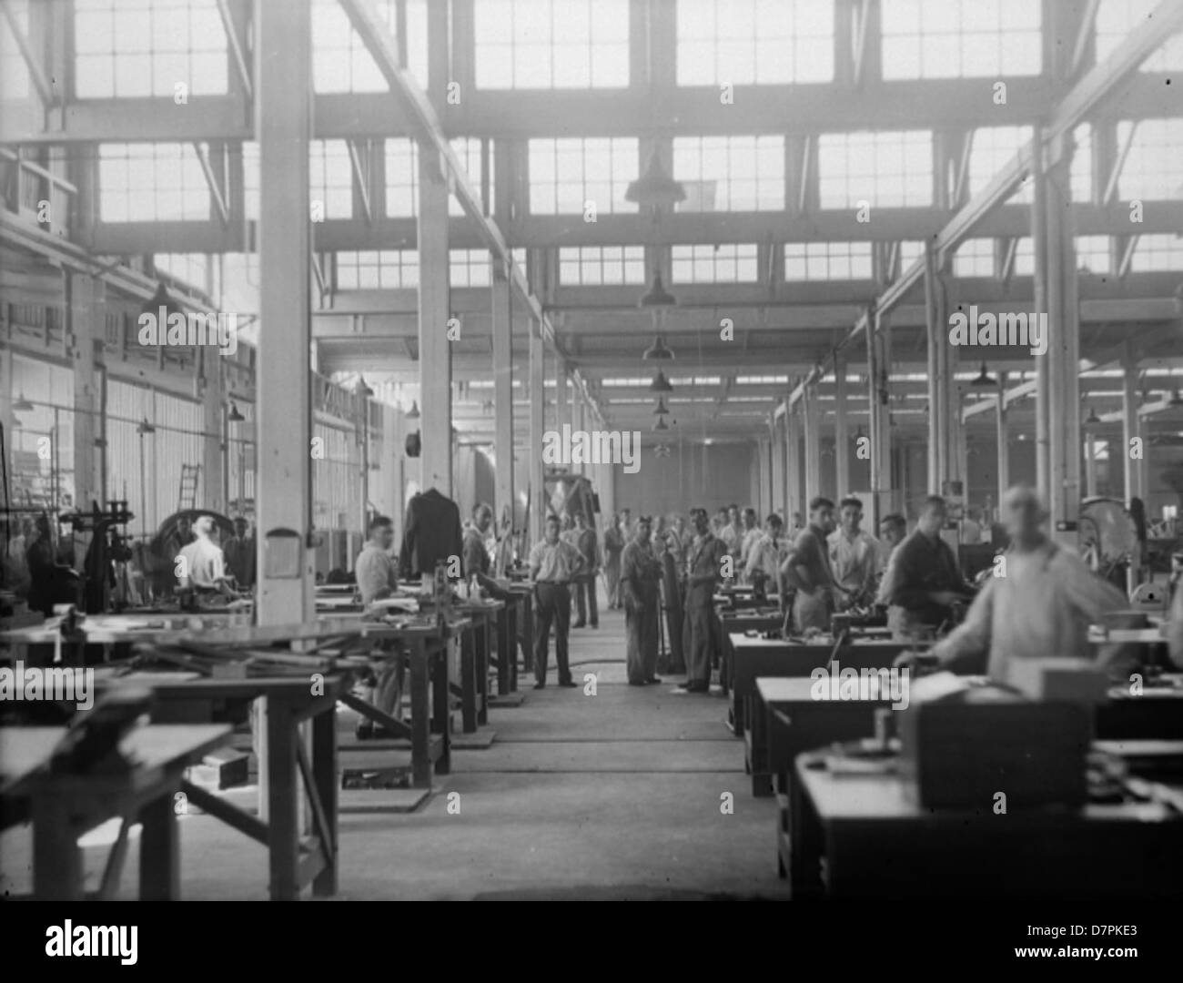 Clyde aircraft shops with workmen at their benche - Stock Image