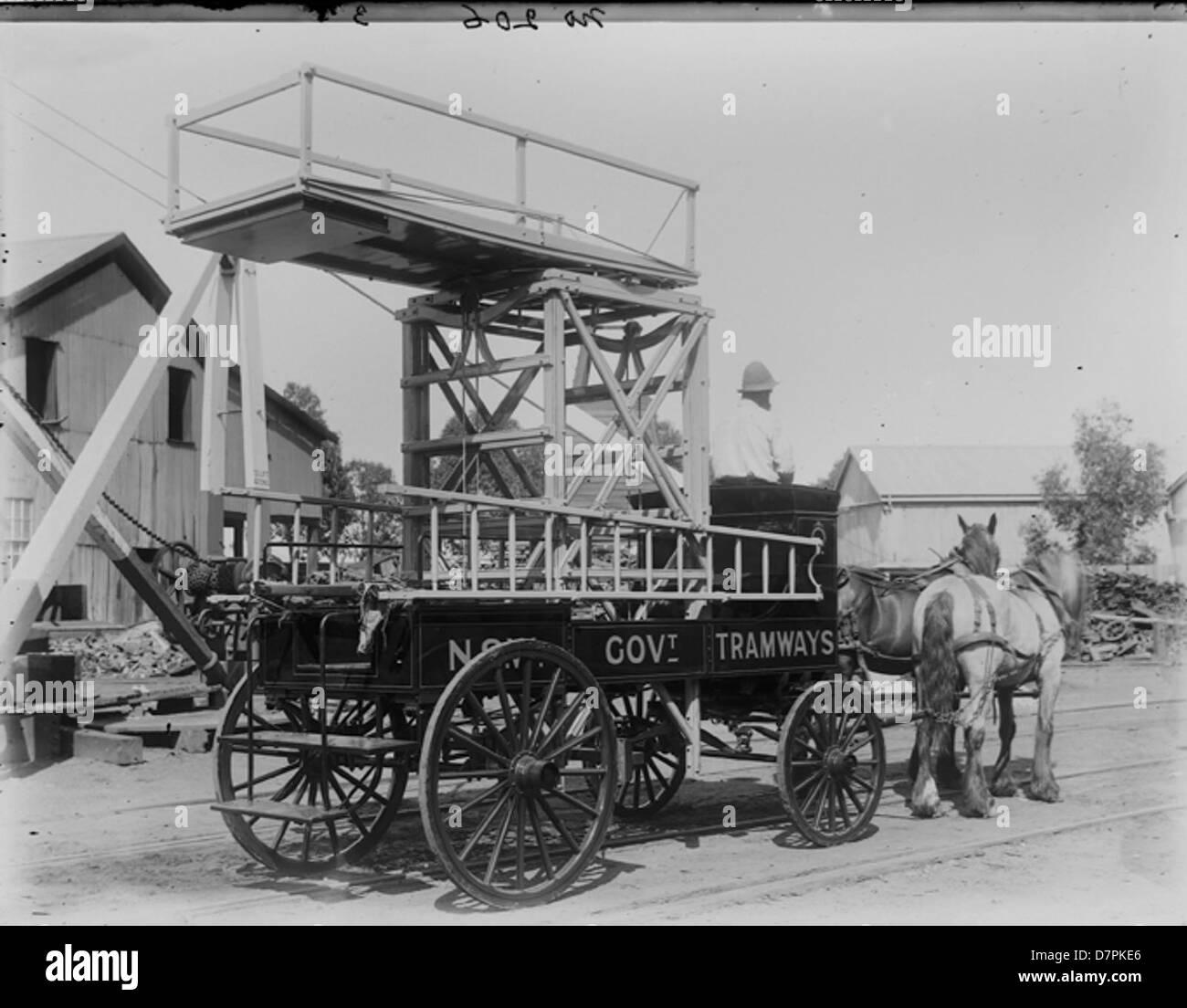 Horsedrawn work platform - Stock Image
