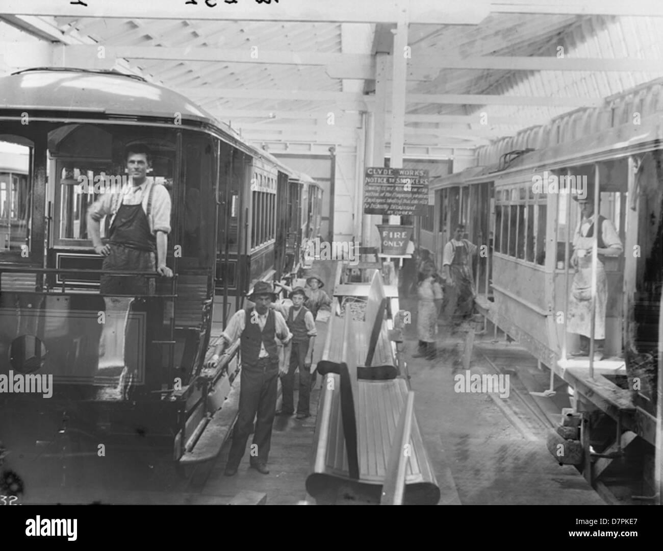 Workmen constructing Sydney tram cars - Stock Image