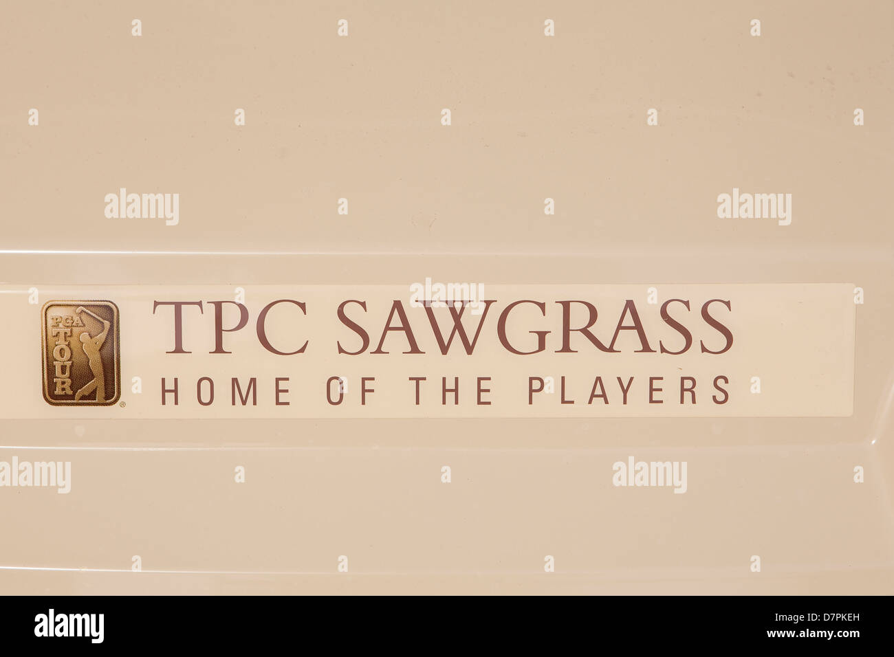 The logo of TPC Sawgrass is pictured on a golf cart in Ponte Vedra Beach, Florida - Stock Image