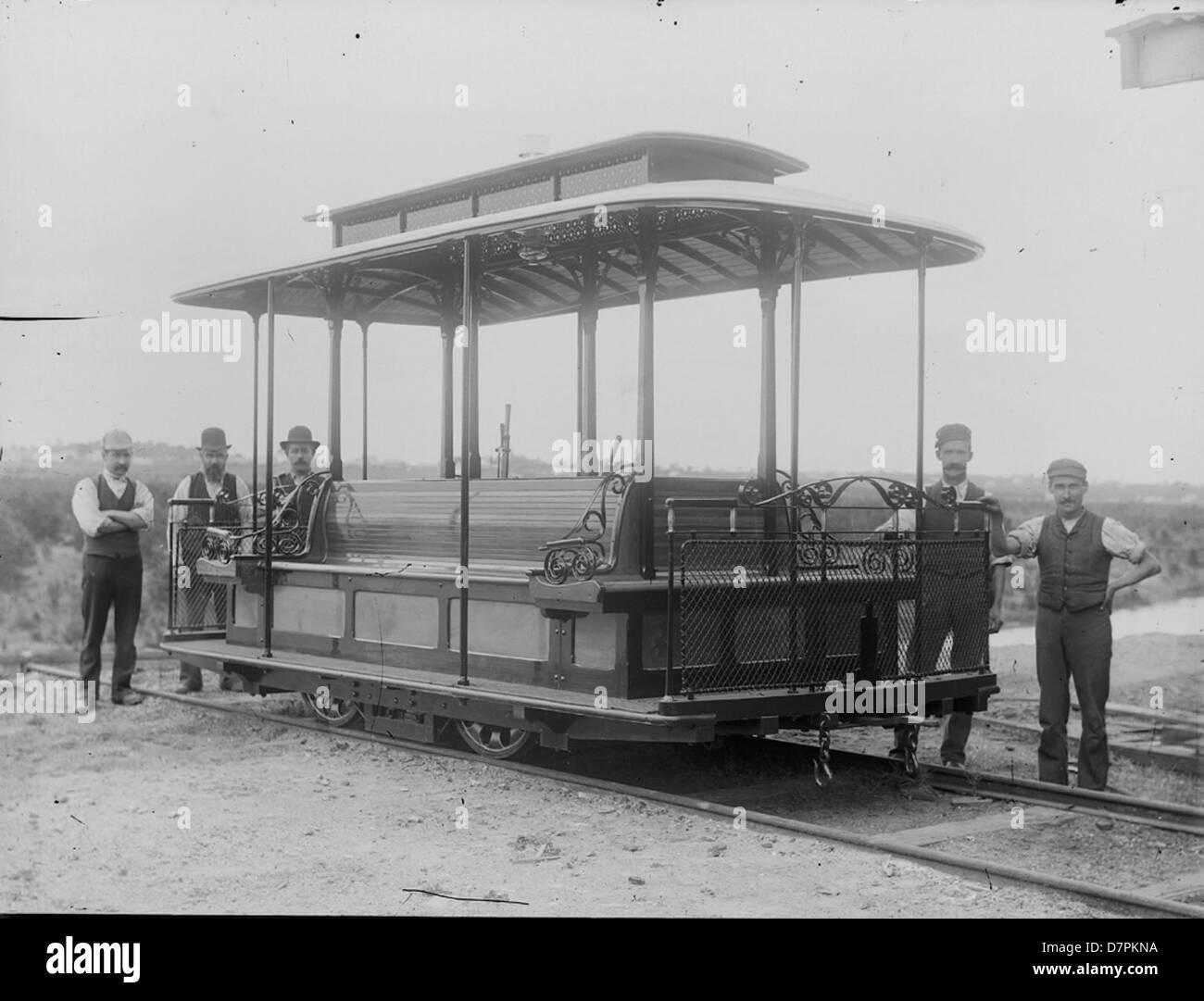 Workmen with tram dummy van - Stock Image