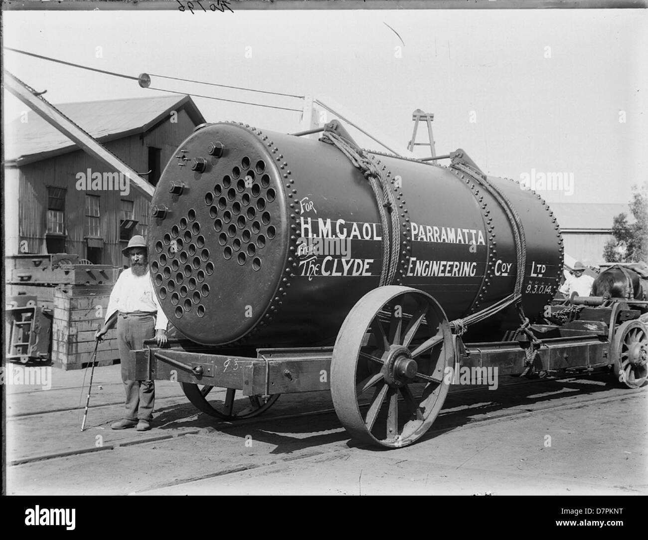 Man with boiler for Parramatta Gao - Stock Image