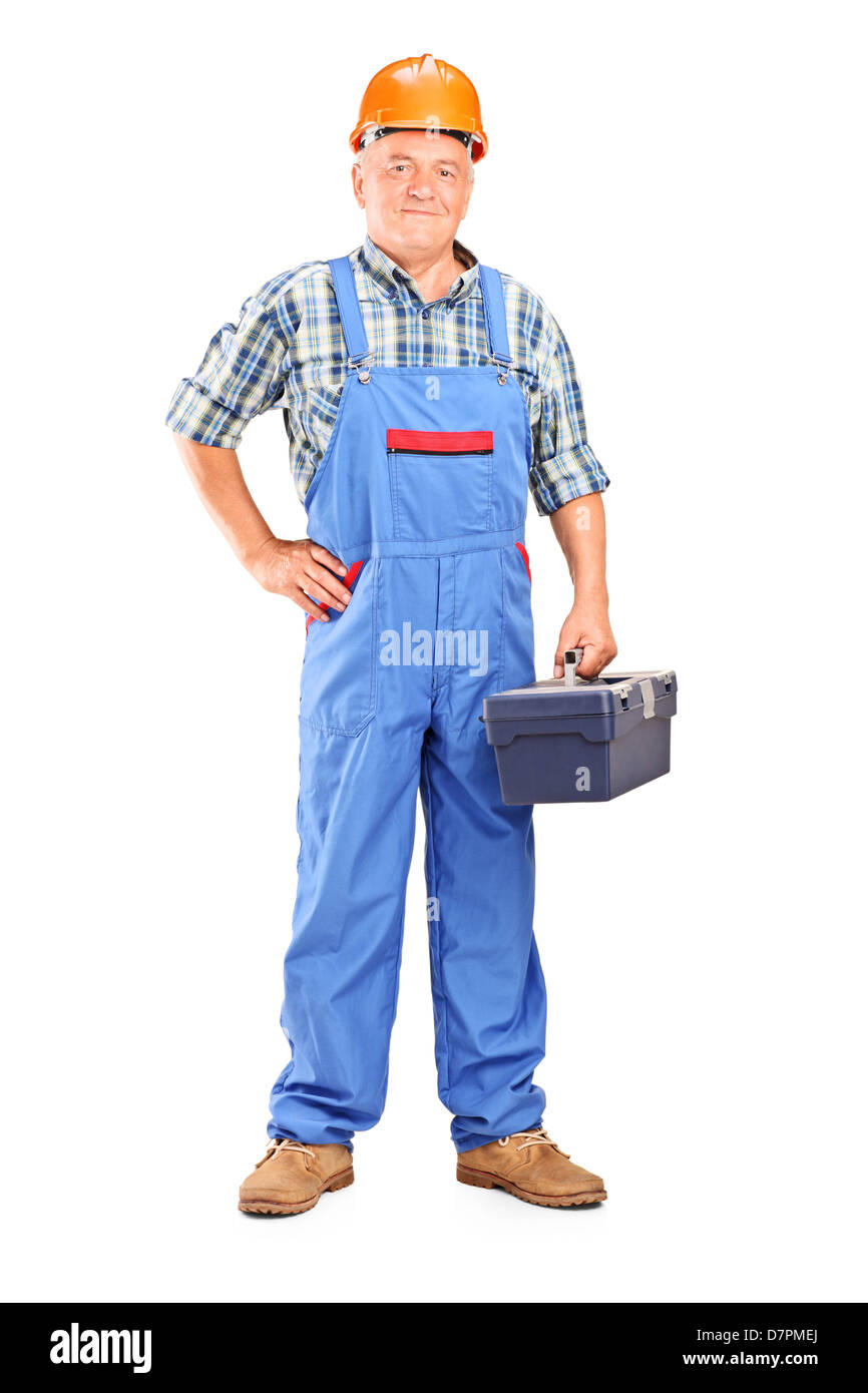 18cccf9945c Full length portrait of a confident manual worker holding a toolbox isolated  on white background -