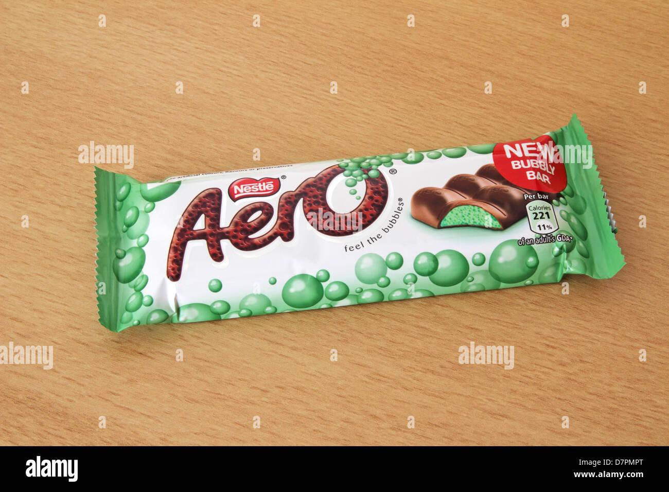 Nestle Aero Mint Chocolate Bar Stock Photo