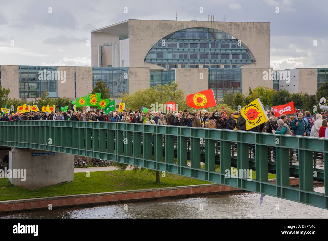 anti-nuclear demonstration in government district, here in front of the chancellery, Berlin Stock Photo