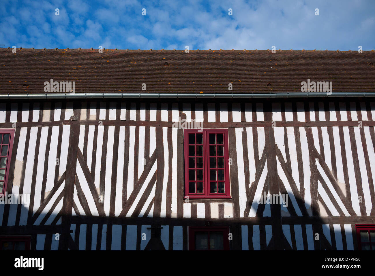 Timber framed house in Beuvron-en-Auge, France. - Stock Image