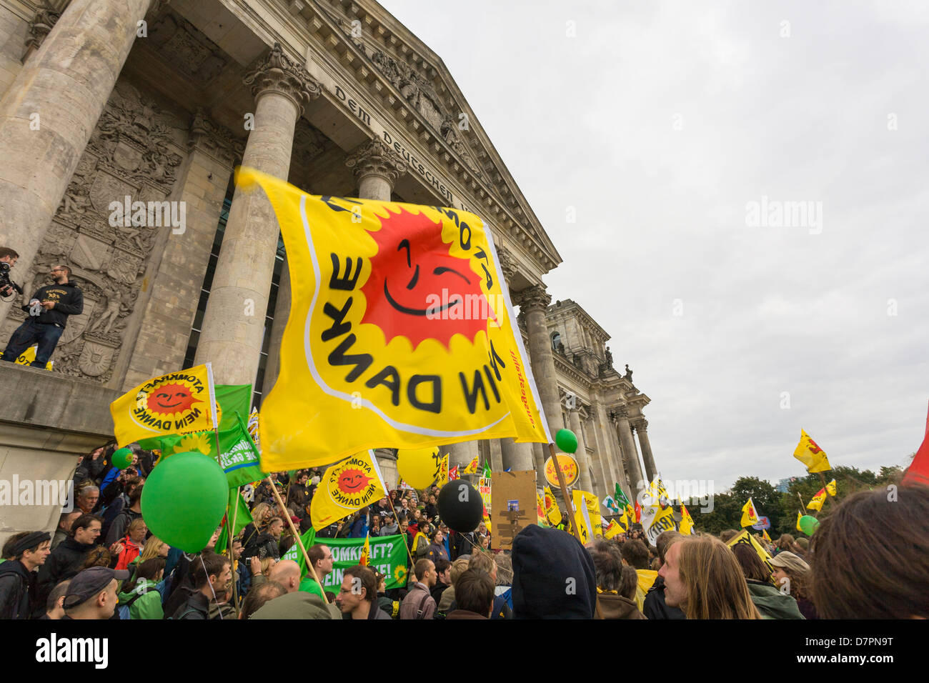 anti-nuclear demonstration in government district, here in front of Reichstag building or Bundestag the parliament, Stock Photo