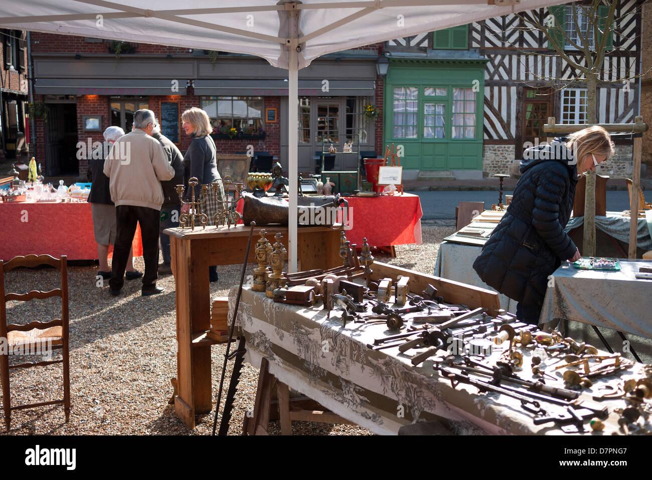 Antiques fair in Beuvron-en-Auge, France. - Stock Image