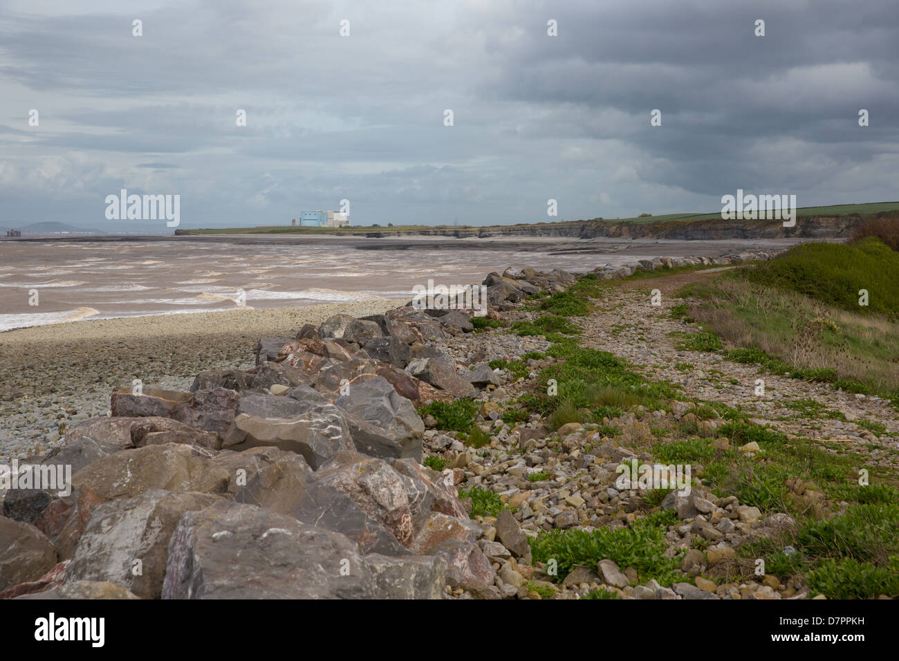 Lilstock beach near the Hinkley Point nuclear power station and Kilve West Somerset England and on the West Somerset - Stock Image