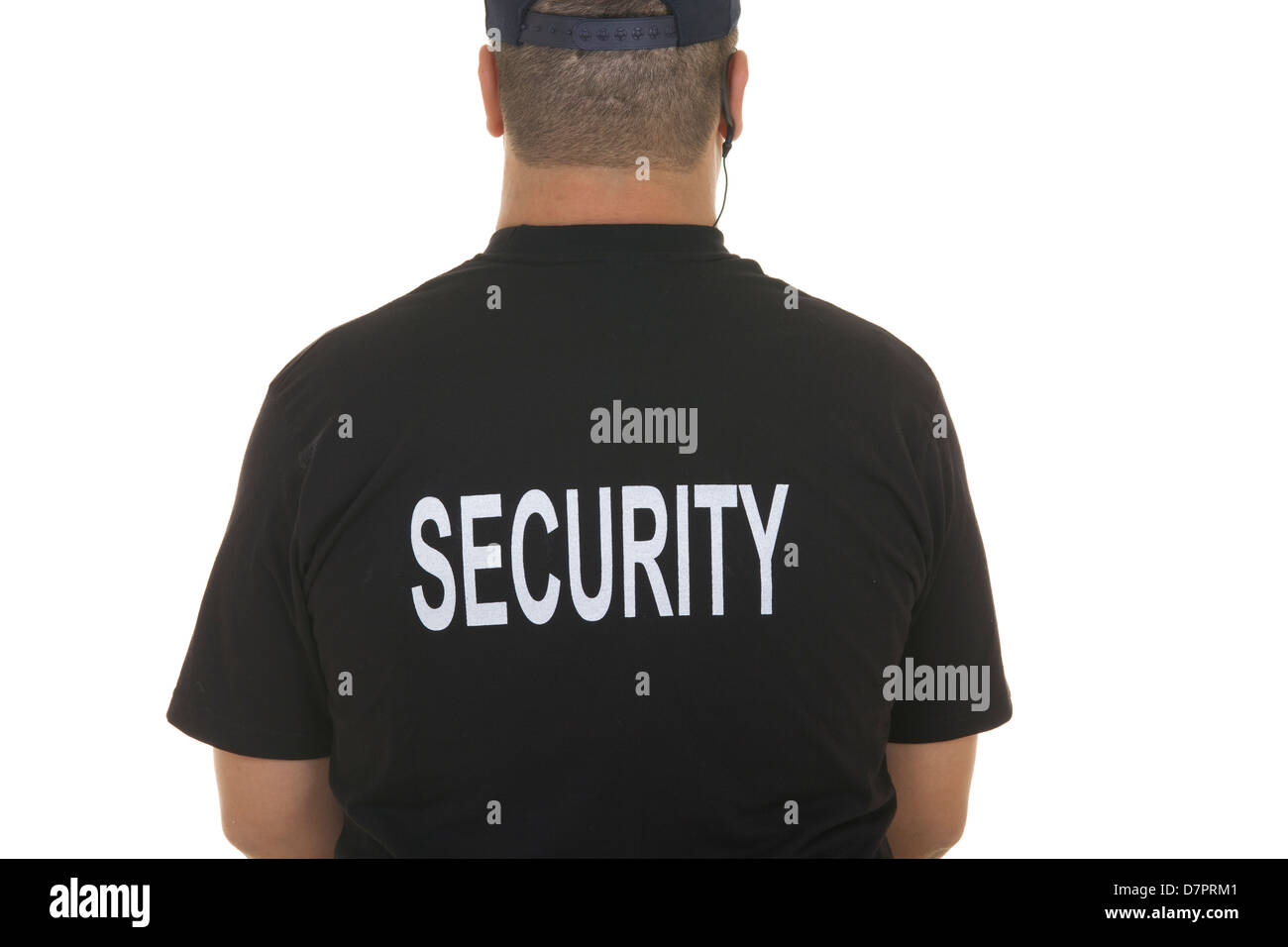 back of a security guard isolated on white - Stock Image