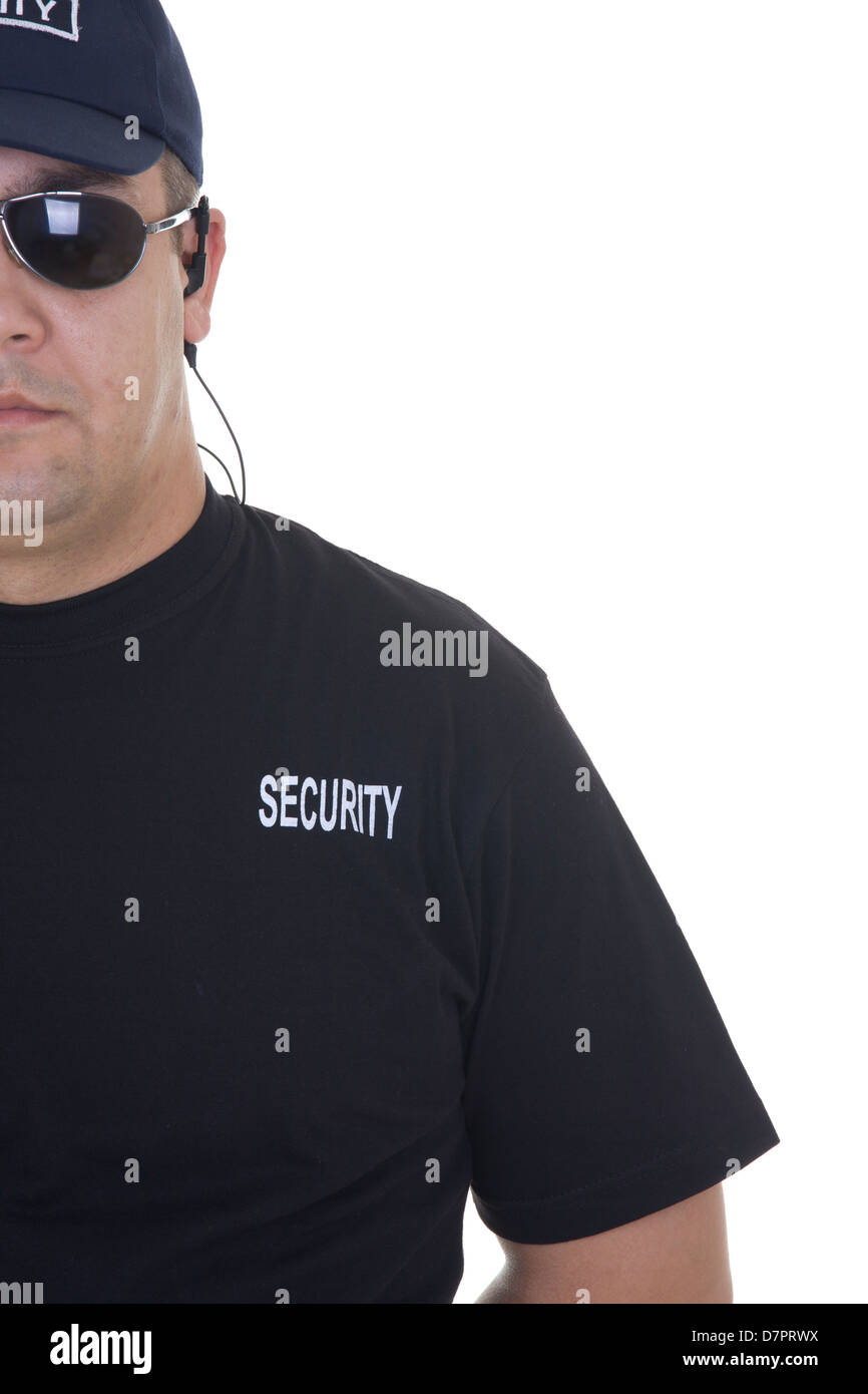 security guard isolated on white - Stock Image