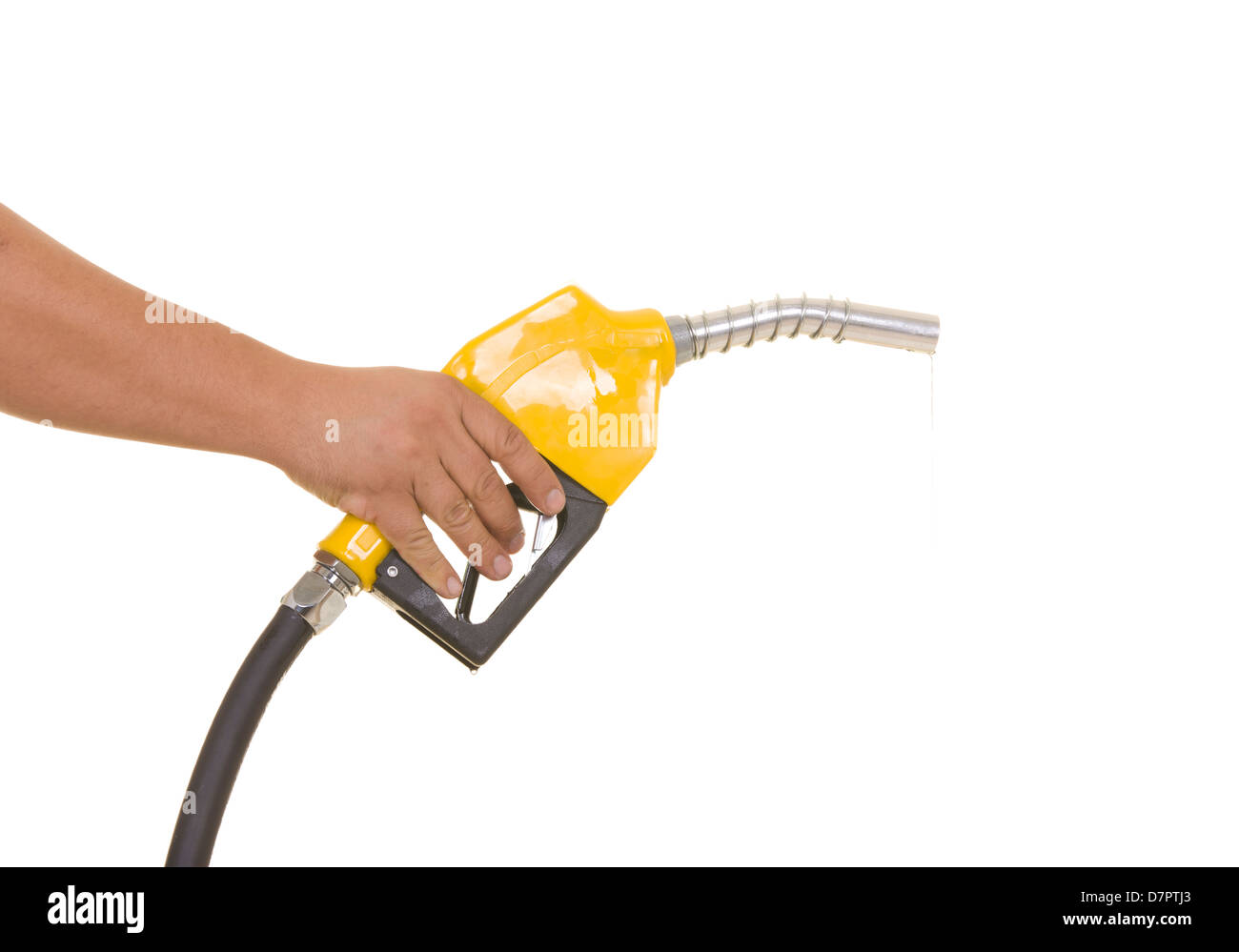 Male hand wasting gas with yellow pump isolated on white - Stock Image