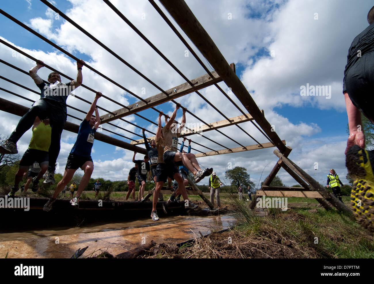 The Monkey Bars proved to be one of the most difficult obstacle during Lactic Rush 2013. - Stock Image