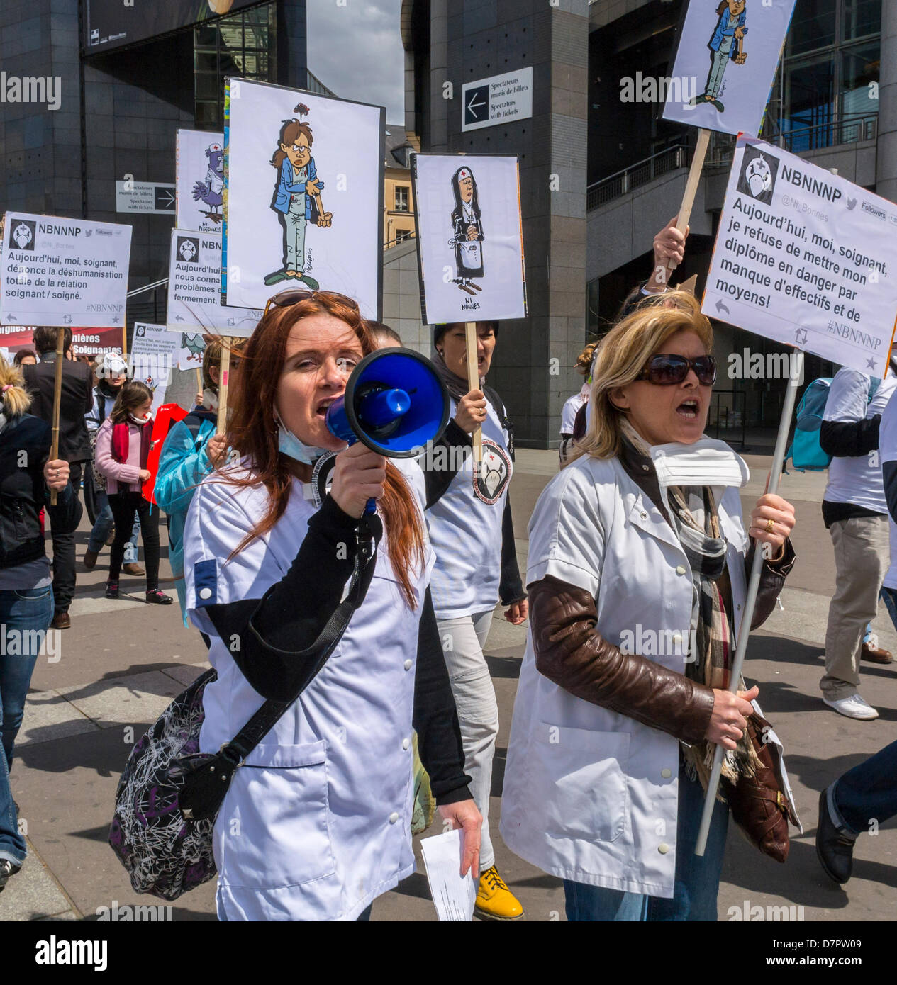 Paris, France. French Nurses Demonstration, For Support of Government Funding for Public Health Care, Woman Nurse - Stock Image
