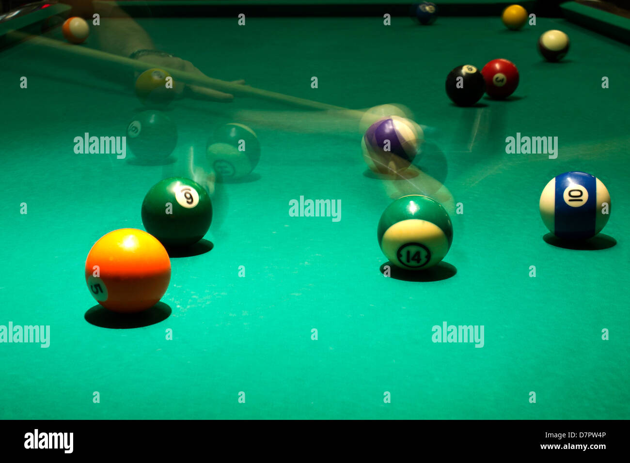 Billiard in pool with movement. - Stock Image