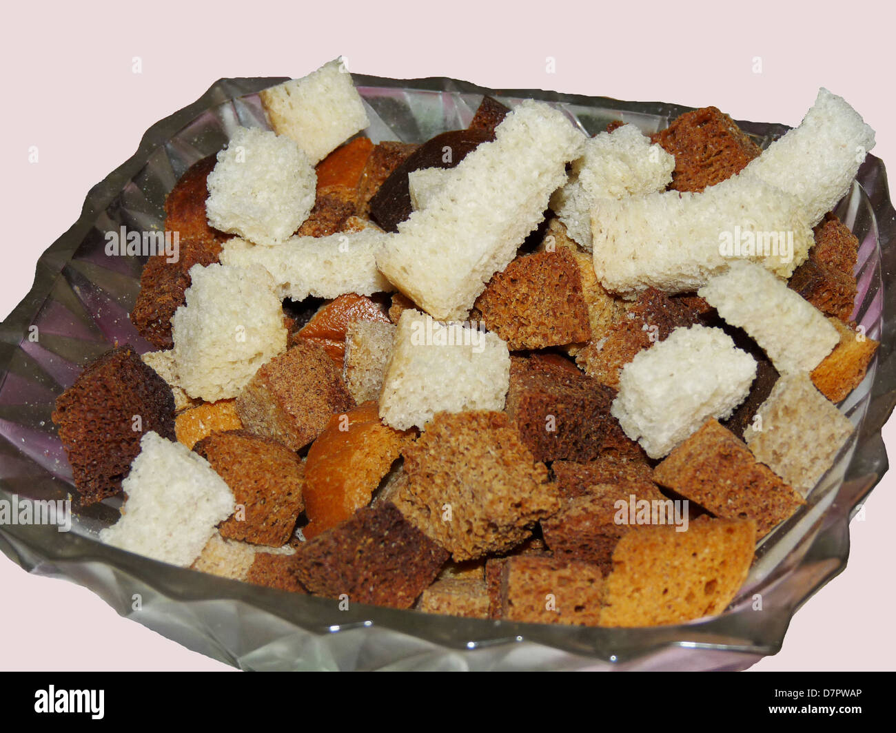 crackers, bread, bowl, food, carbohydrates, diet, white, black, crispy, tasty - Stock Image
