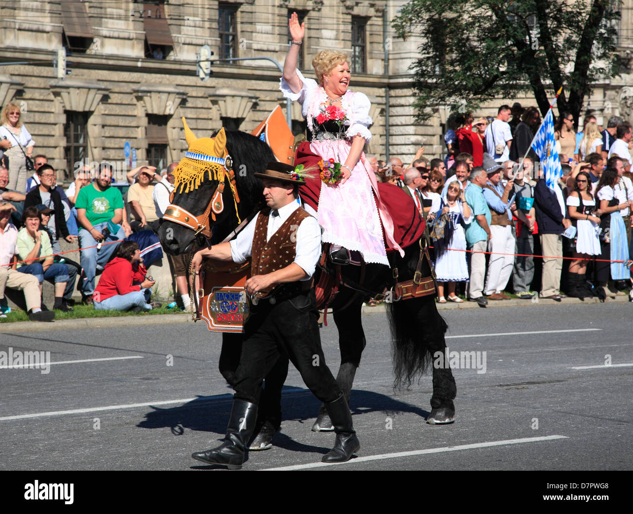 Traditional bavarian costume parade at the Oktoberfest, Octoberfest, Beer festival, Munich, Bavaria, Germany - Stock Image