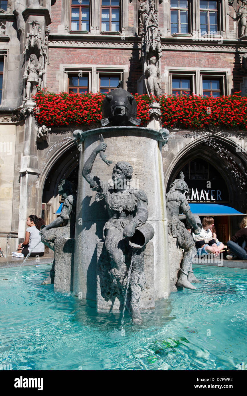 Fisch fountain, Marienplatz, town hall square, Munich, Bavaria, Germany - Stock Image