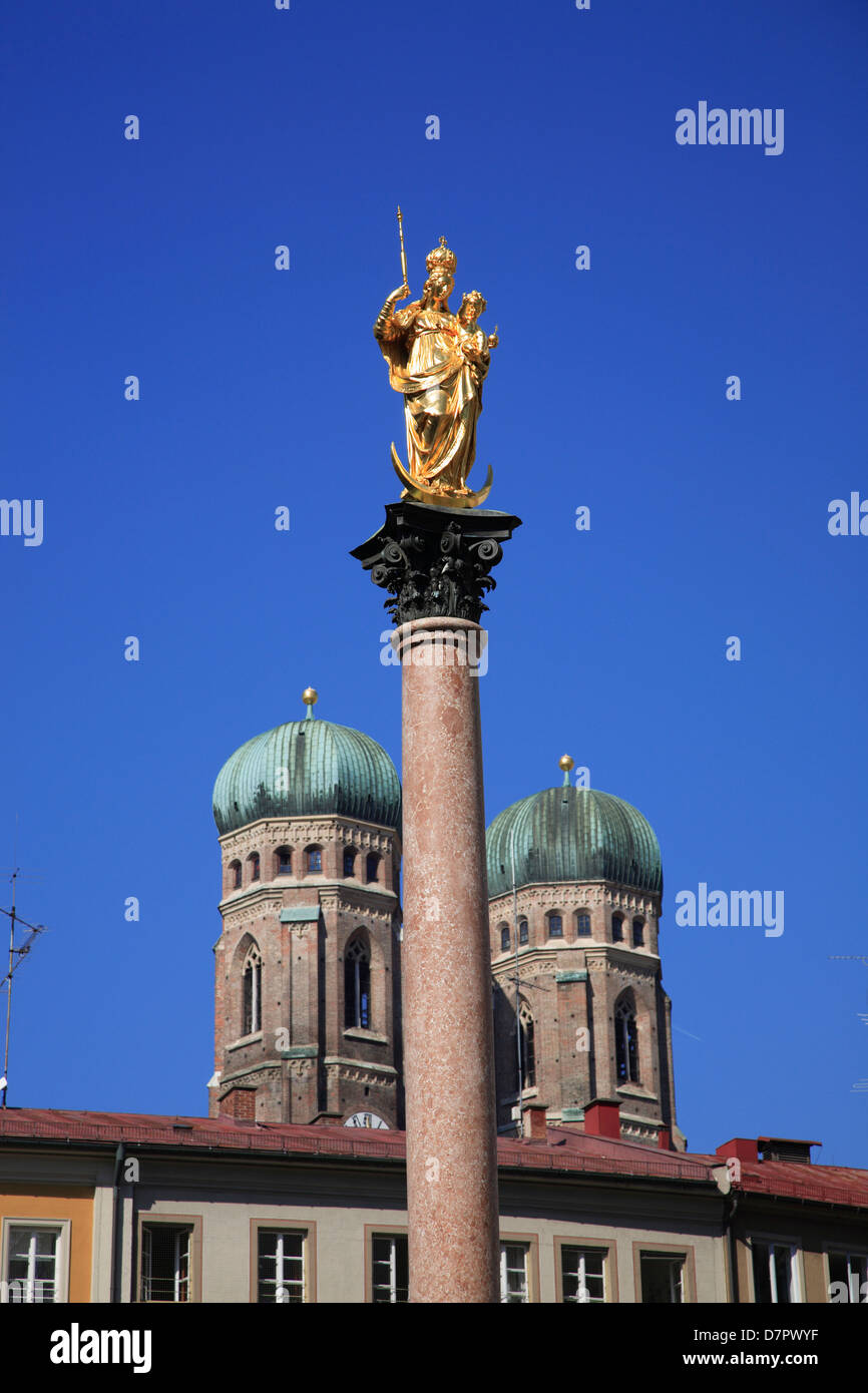 Mariensaeule and Towers of Frauenkirche, Munich, Bavaria, Germany - Stock Image