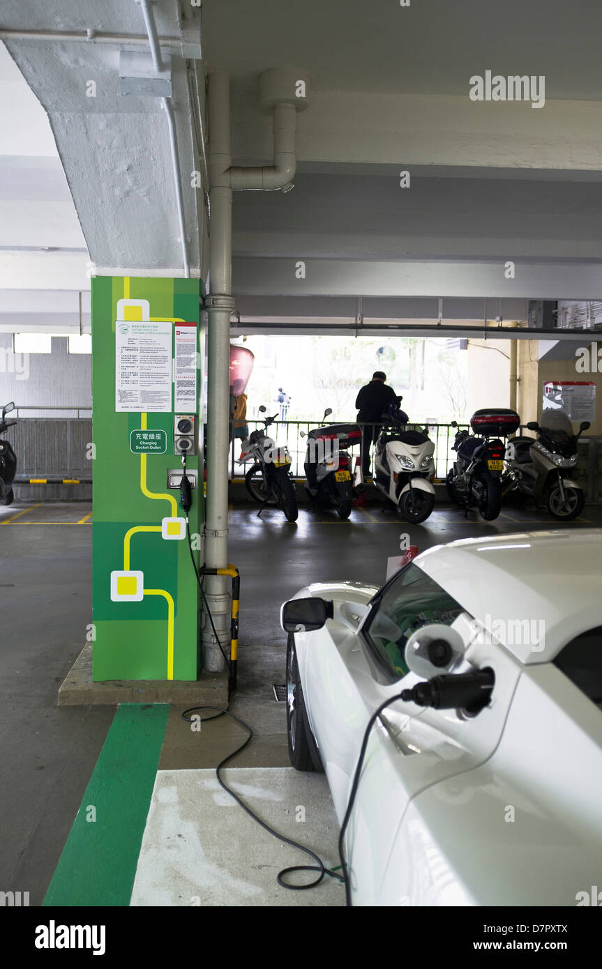 dh Electric charging station TRANSPORT ASIA Charging electric car in Hong Kong carpark bay charge ev cars china - Stock Image