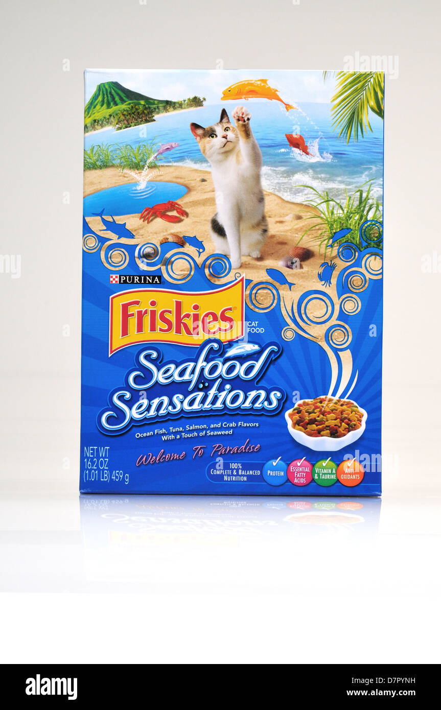 Unopened Box of Friskies seafood sensations dry cat food on white background, cutout. USA - Stock Image
