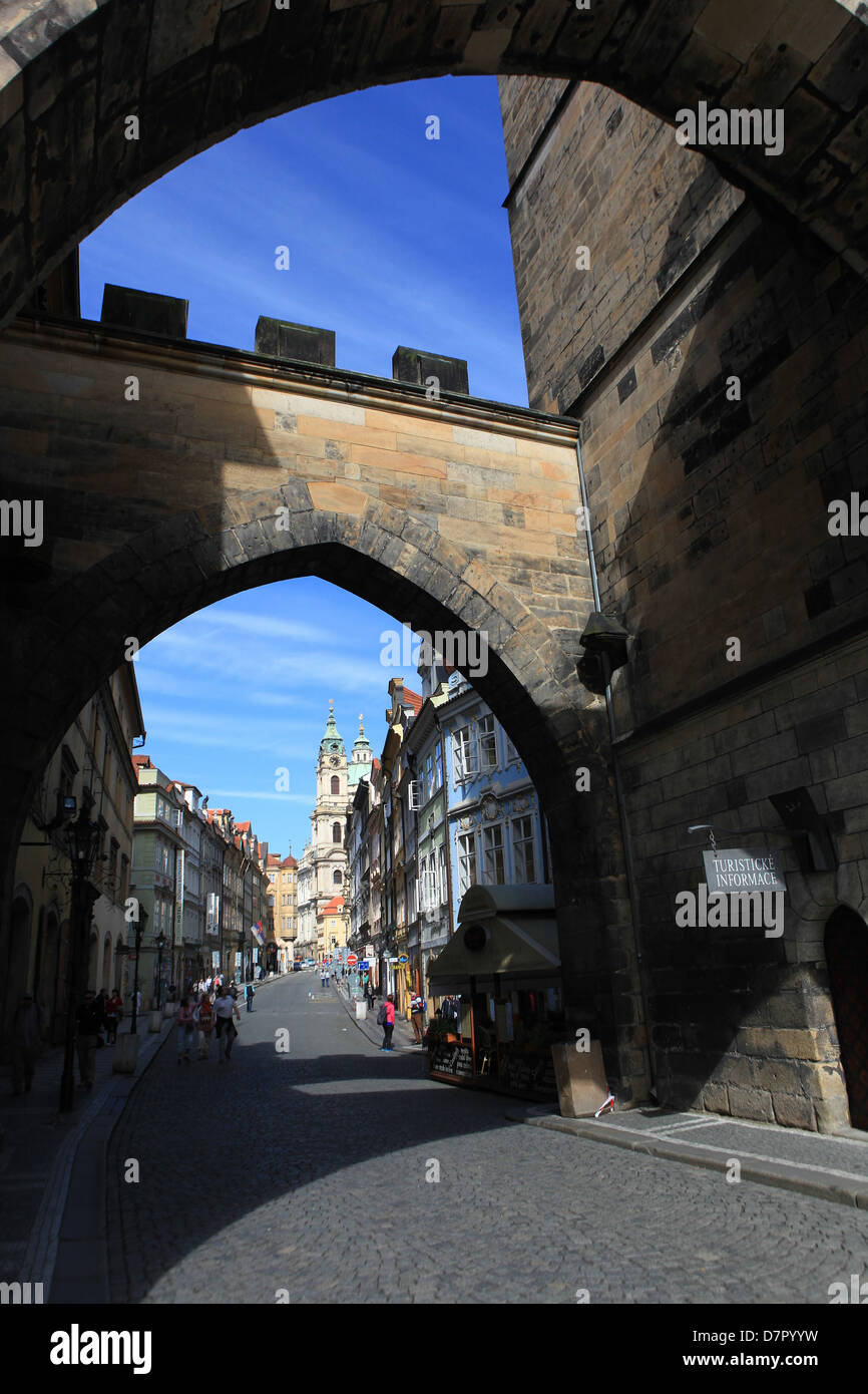 Mostecka street, view from Charles Bridge, Prague Czech Republic - Stock Image