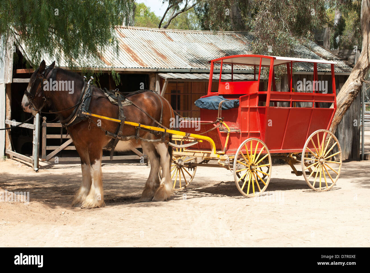 A Stage Coach and Clydesdale Draught Horse - Stock Image