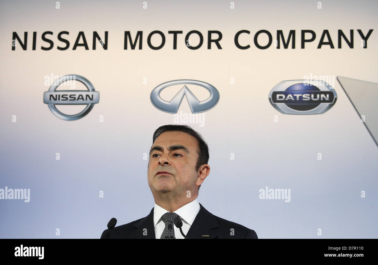 May 10, 2013 - Yokohama, Japan - Nissan Motor Corp. CEO Carlos Ghosn speaks during a news conference held at the Stock Photo