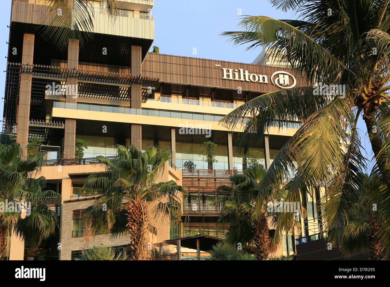 Facade of the Hilton Hotel in Pattaya, Thailand - Stock Image