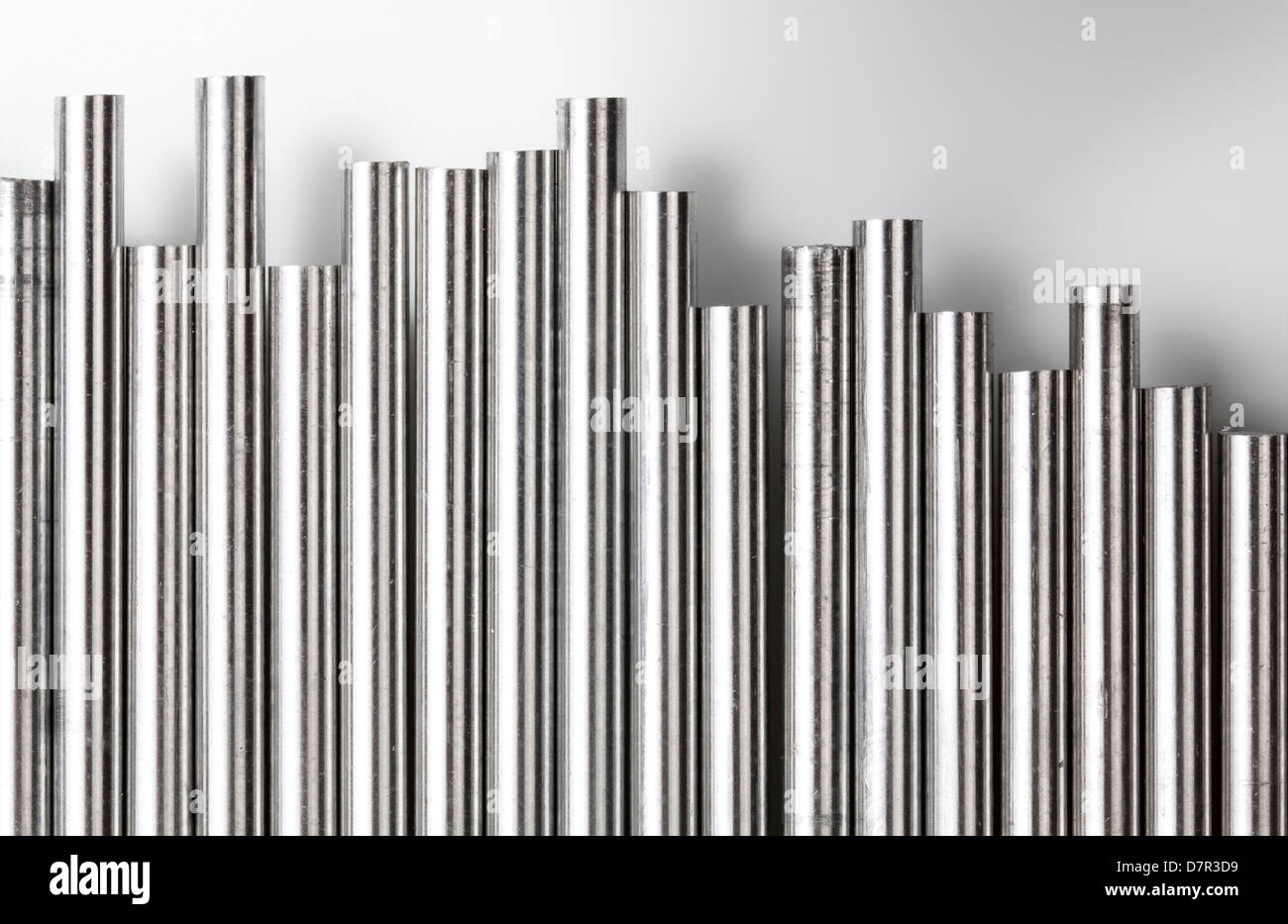 A stack of round bundled alumnium rods - Stock Image