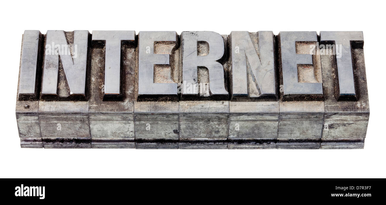 Metal printing setting, old letters made of lead for letterpress printing - Stock Image