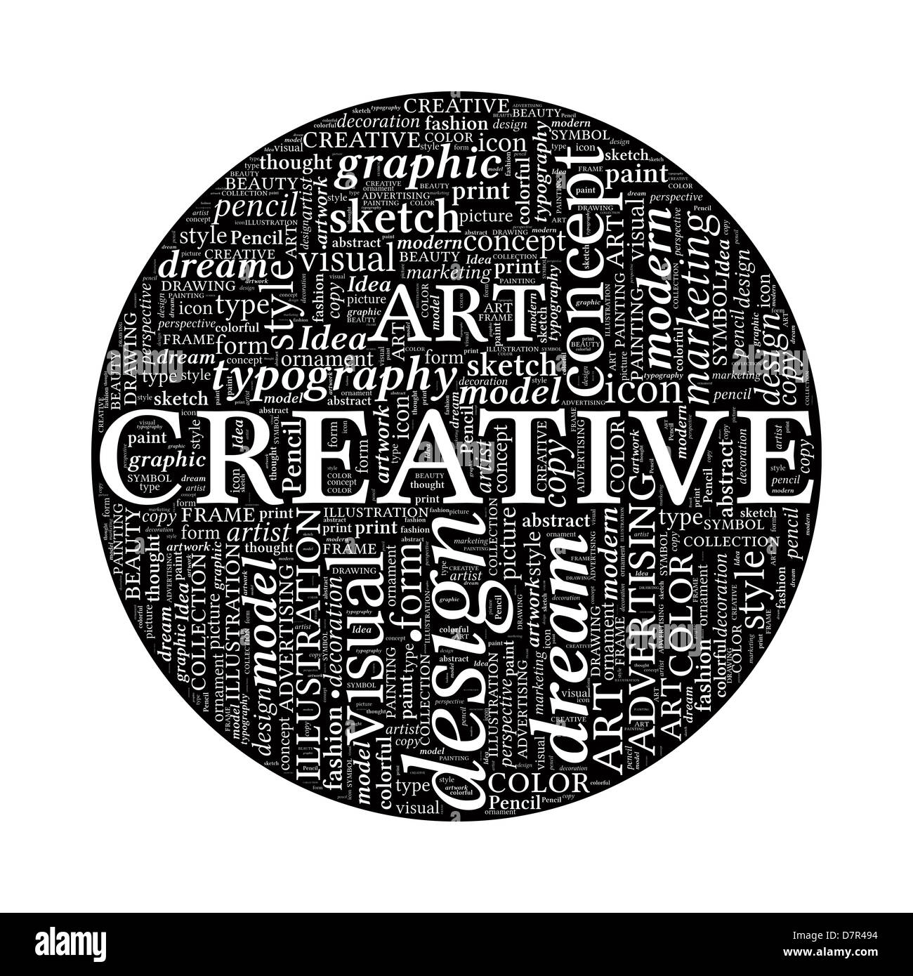 Creative design concept black and white word cloud in circle