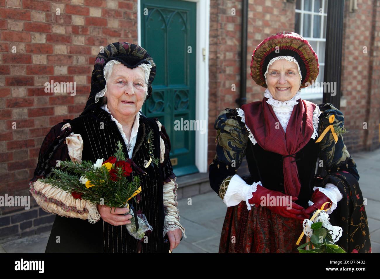 Shakespearian Ladies at the annual Birthday Memorial Parade at Stratford upon Avon. - Stock Image