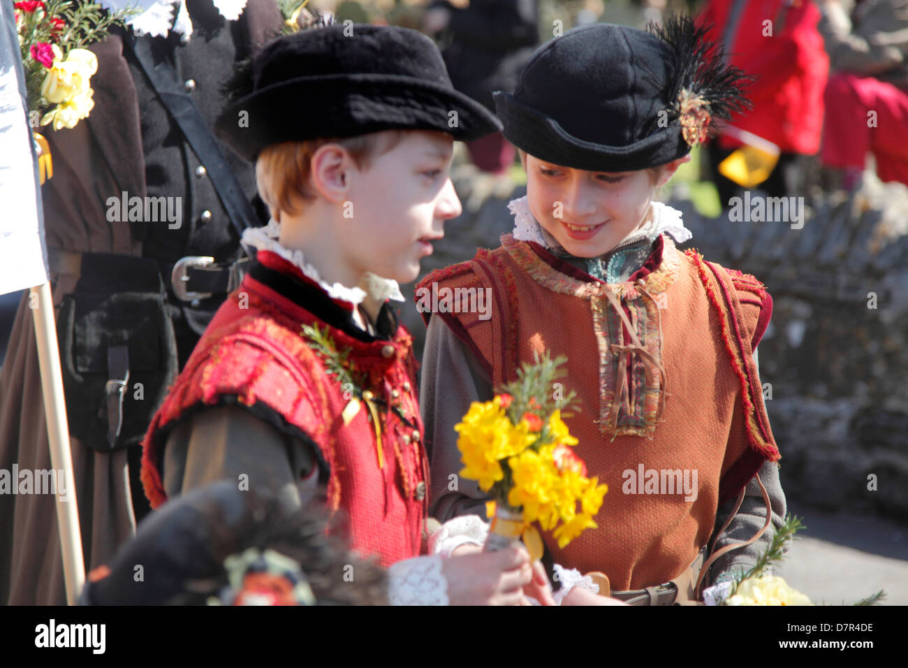 Two young Shakespearian Page Boys at the annual Birthday Memorial Parade at Stratford upon Avon. - Stock Image