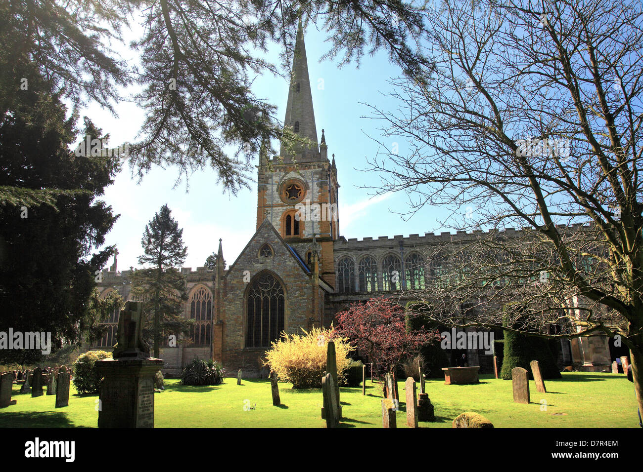 Collegiate Church of the Holy and Undivided Trinity, Stratford-upon-Avon is a Grade I   listed parish church - Stock Image
