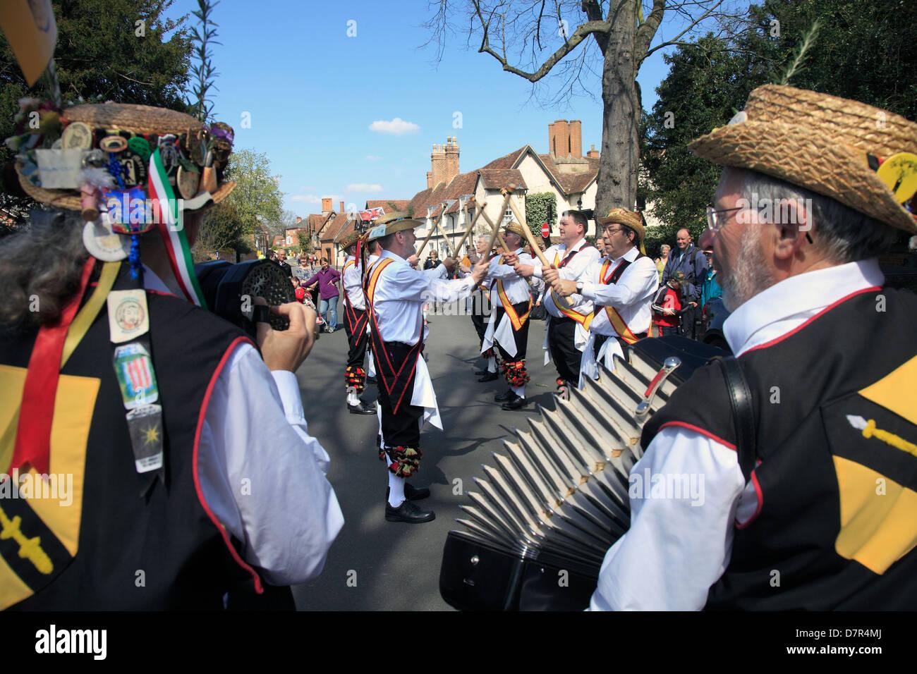 Morris Dancers at Shakespeare's Birthday Parade Stratford on Avon - Stock Image