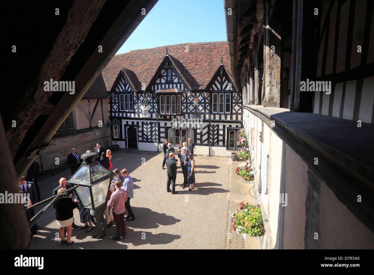 Courtyard of HIstorical Buildings at Warwick - Stock Image