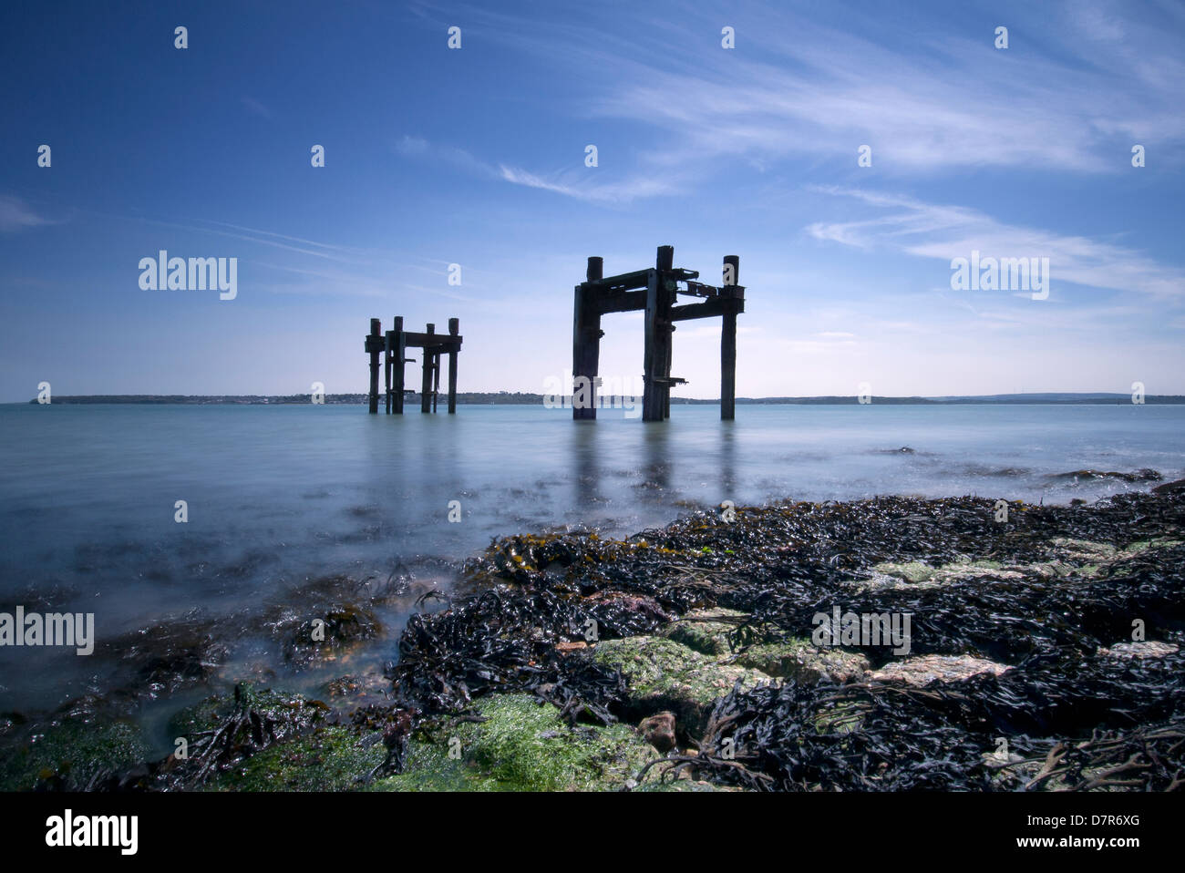 remains of a pier used for D Day embarkation at Lepe, New Forest, Hampshire - Stock Image
