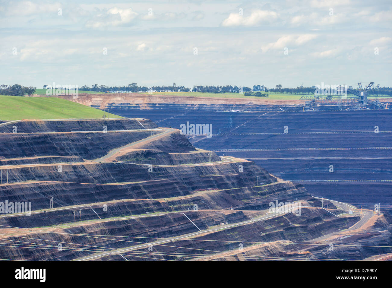 The Loy Yang power stations' open cut brown coal mine in Victoria, Australia. Stock Photo