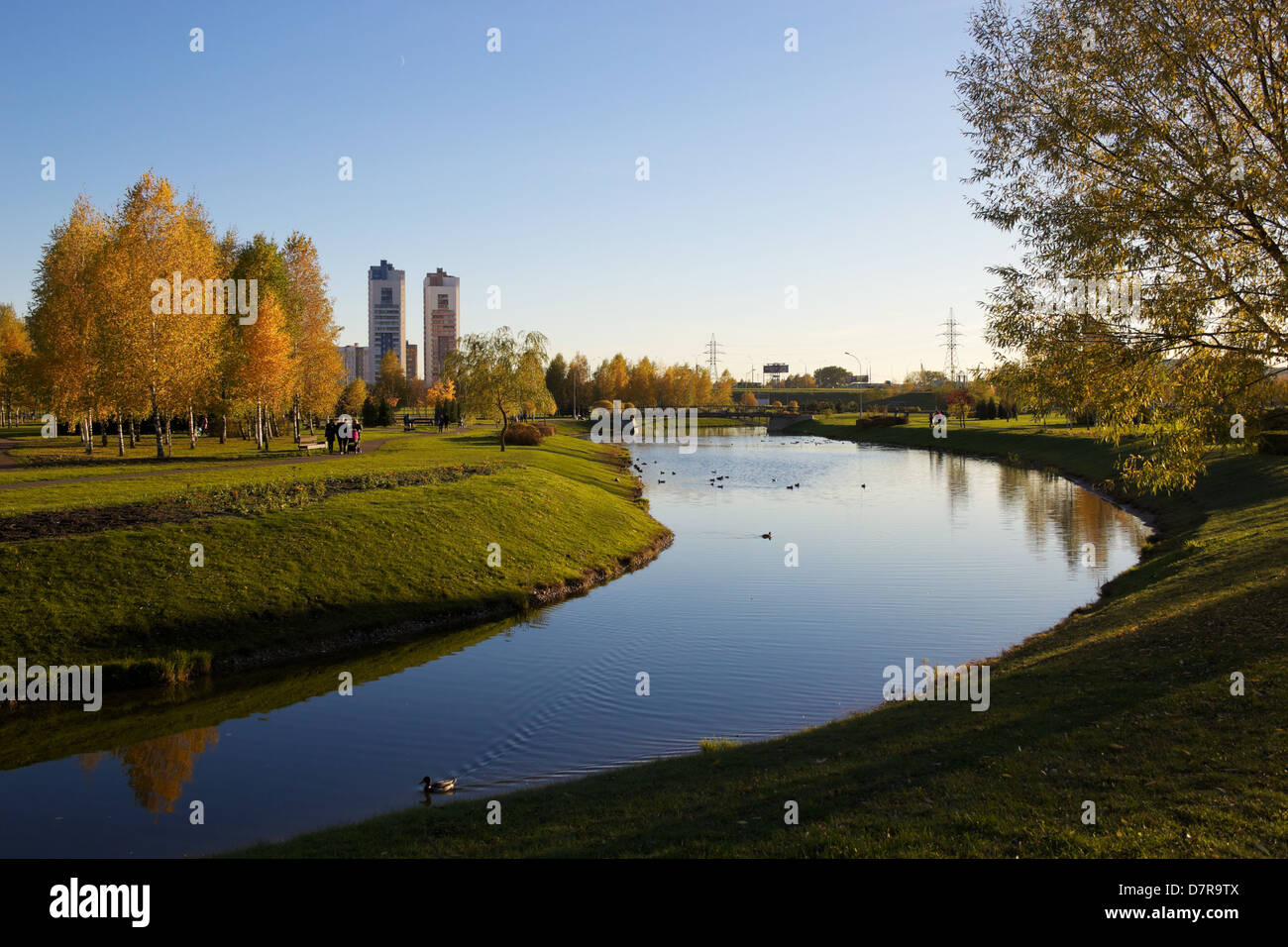 park and river in Minsk, capital of Belarus - Stock Image