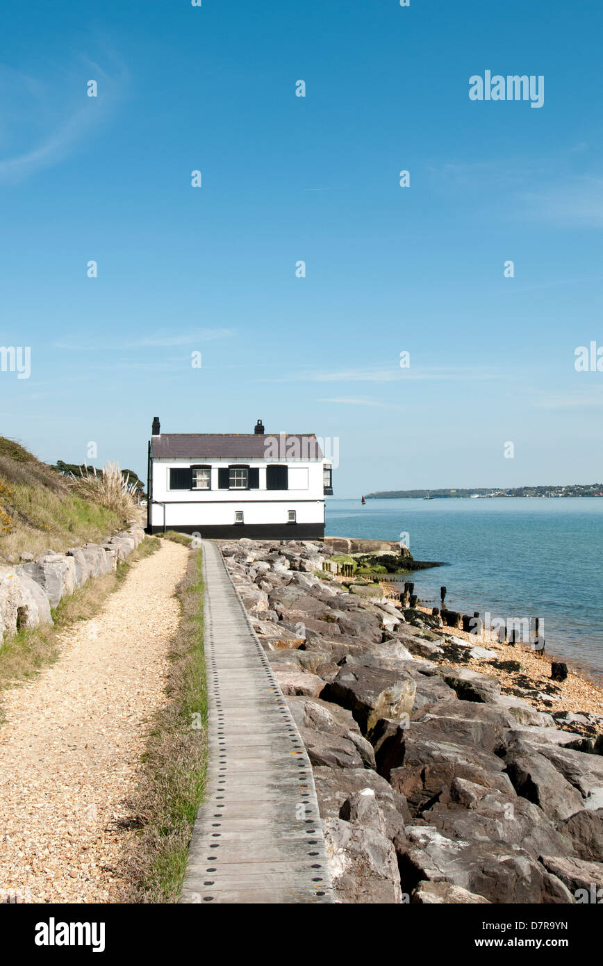 The Watch House on the foreshore at Lepe, New Forest - Stock Image