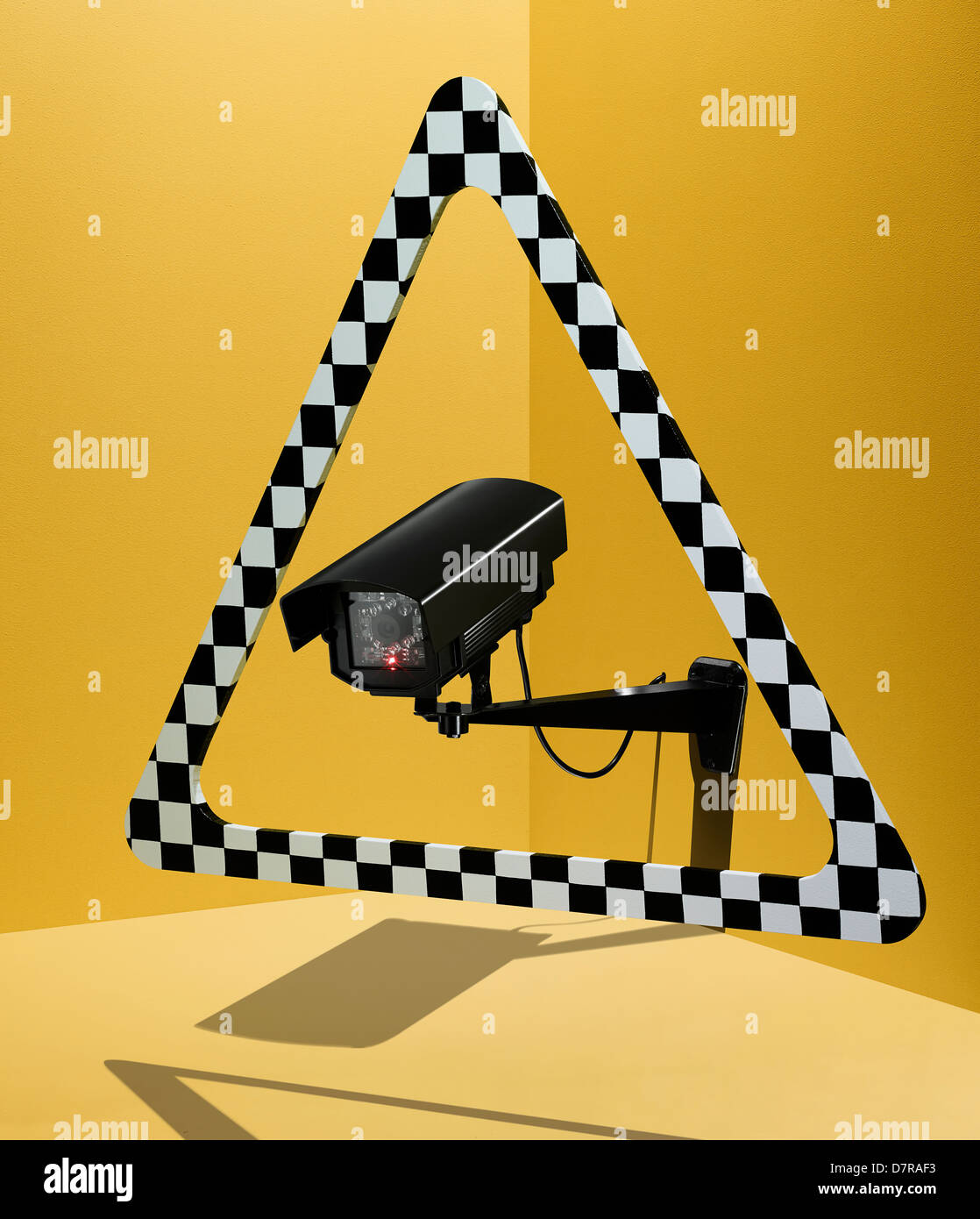 3D CCTV Warning Sign - Stock Image