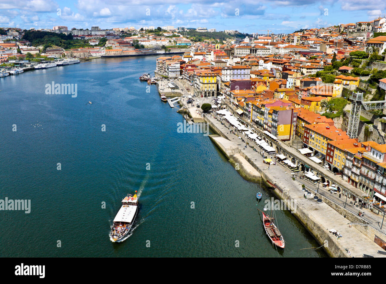 view of Porto and boats on Douro river - Stock Image
