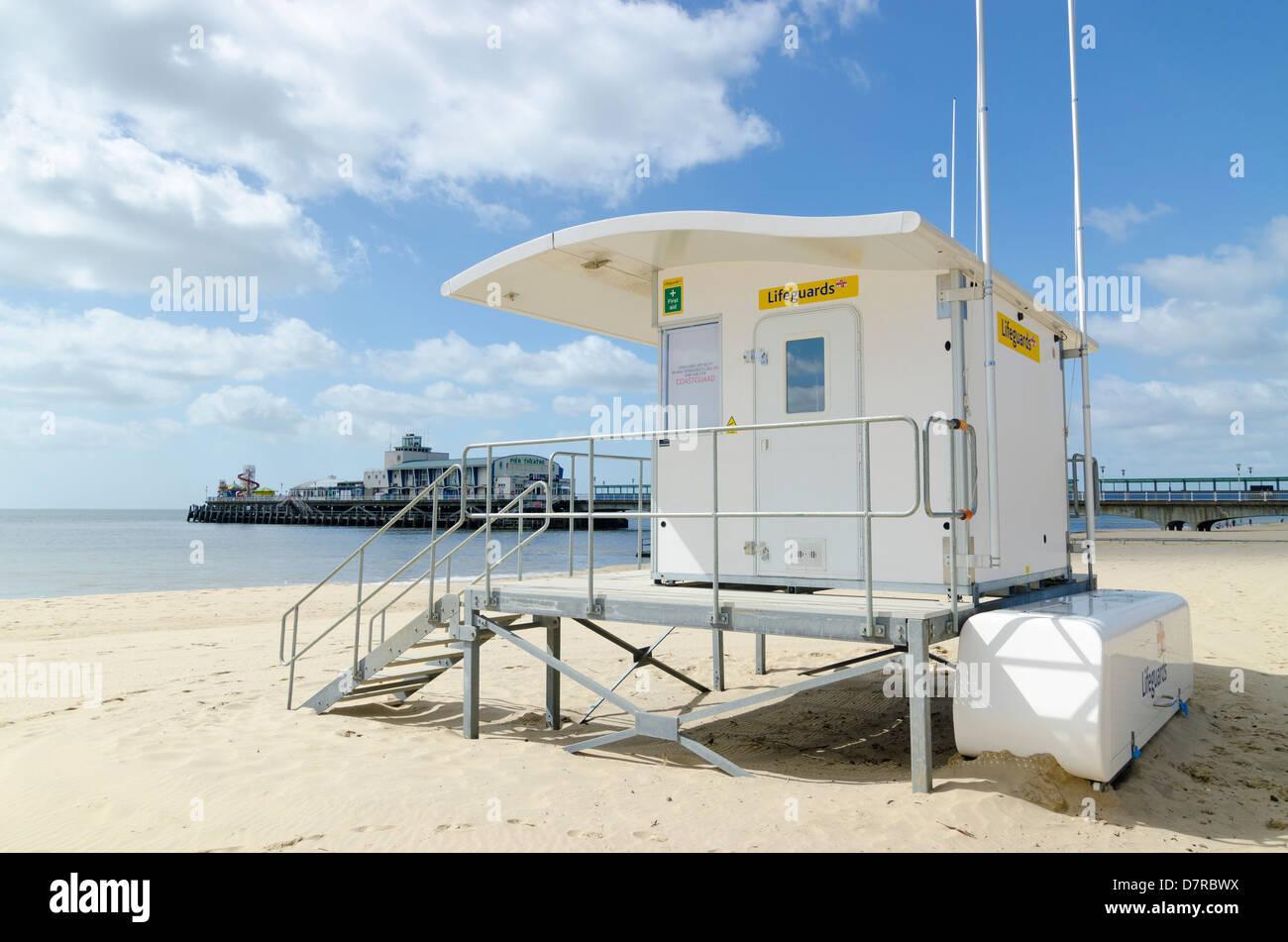 Lifeguard hut on Bournemouth beach Dorset UK - Stock Image