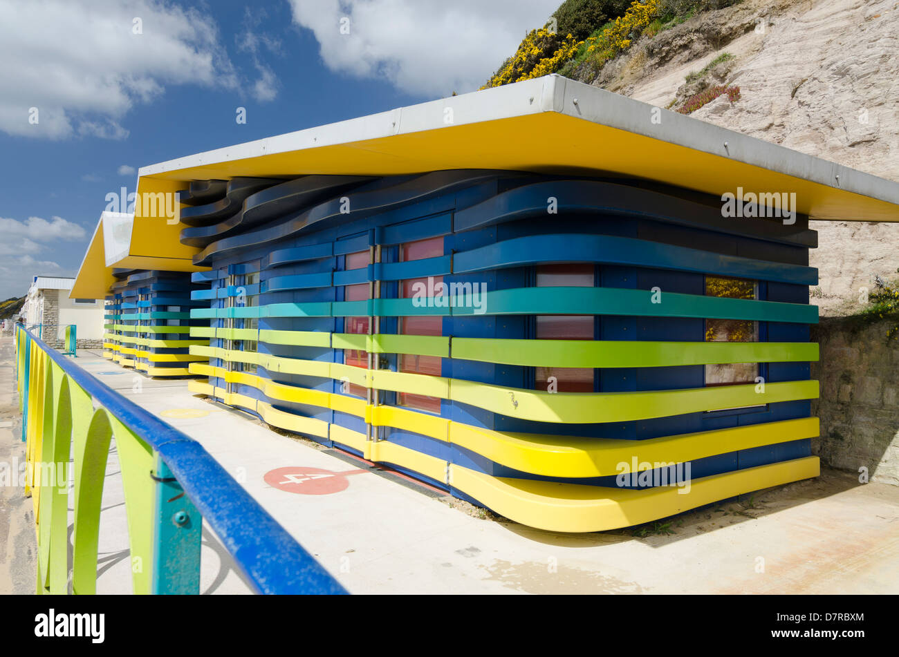 Beach Huts with facilities for Disabled users. Boscombe Dorset - Stock Image