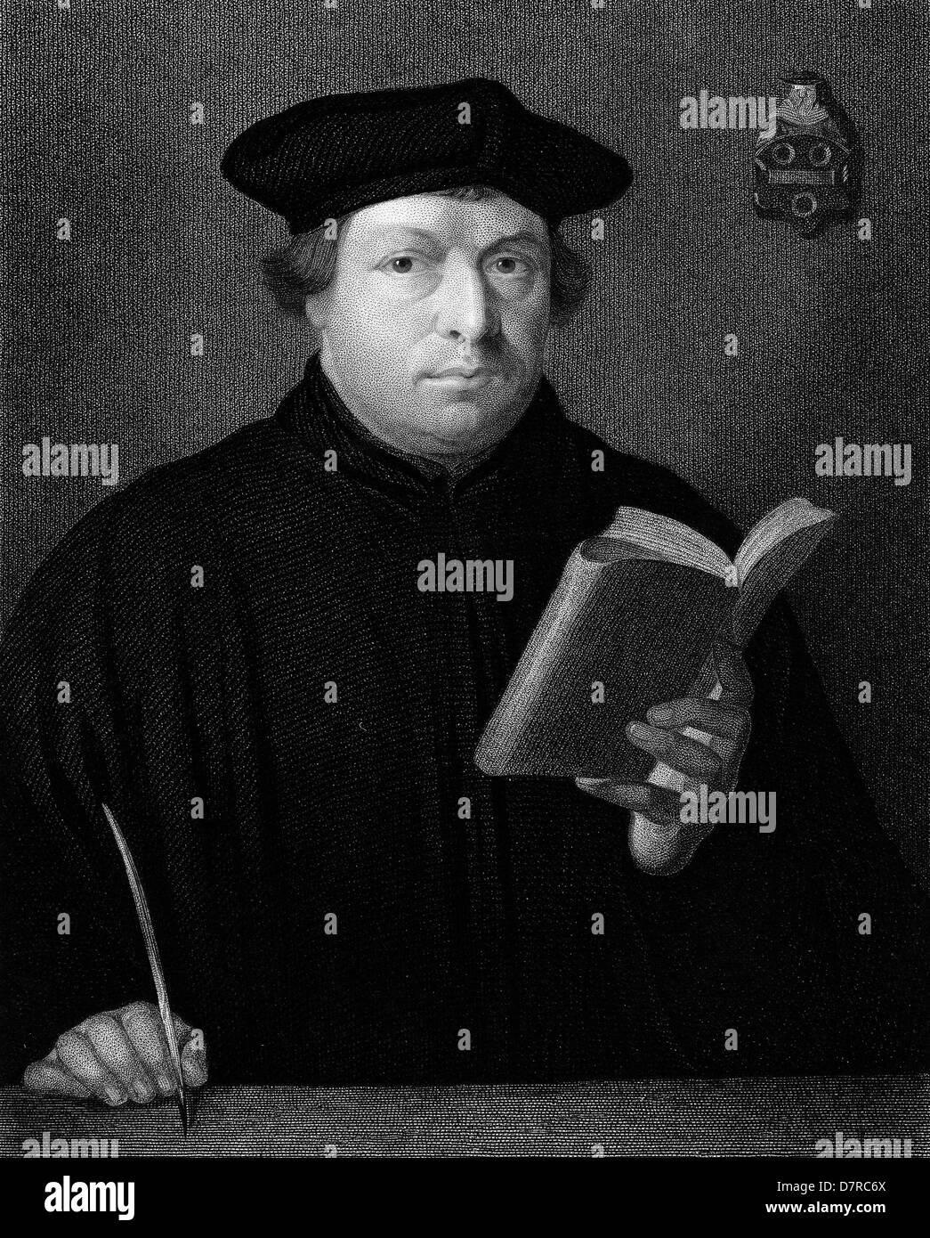 Martin Luther - German Protestant reformer 1830 Engraving - Stock Image
