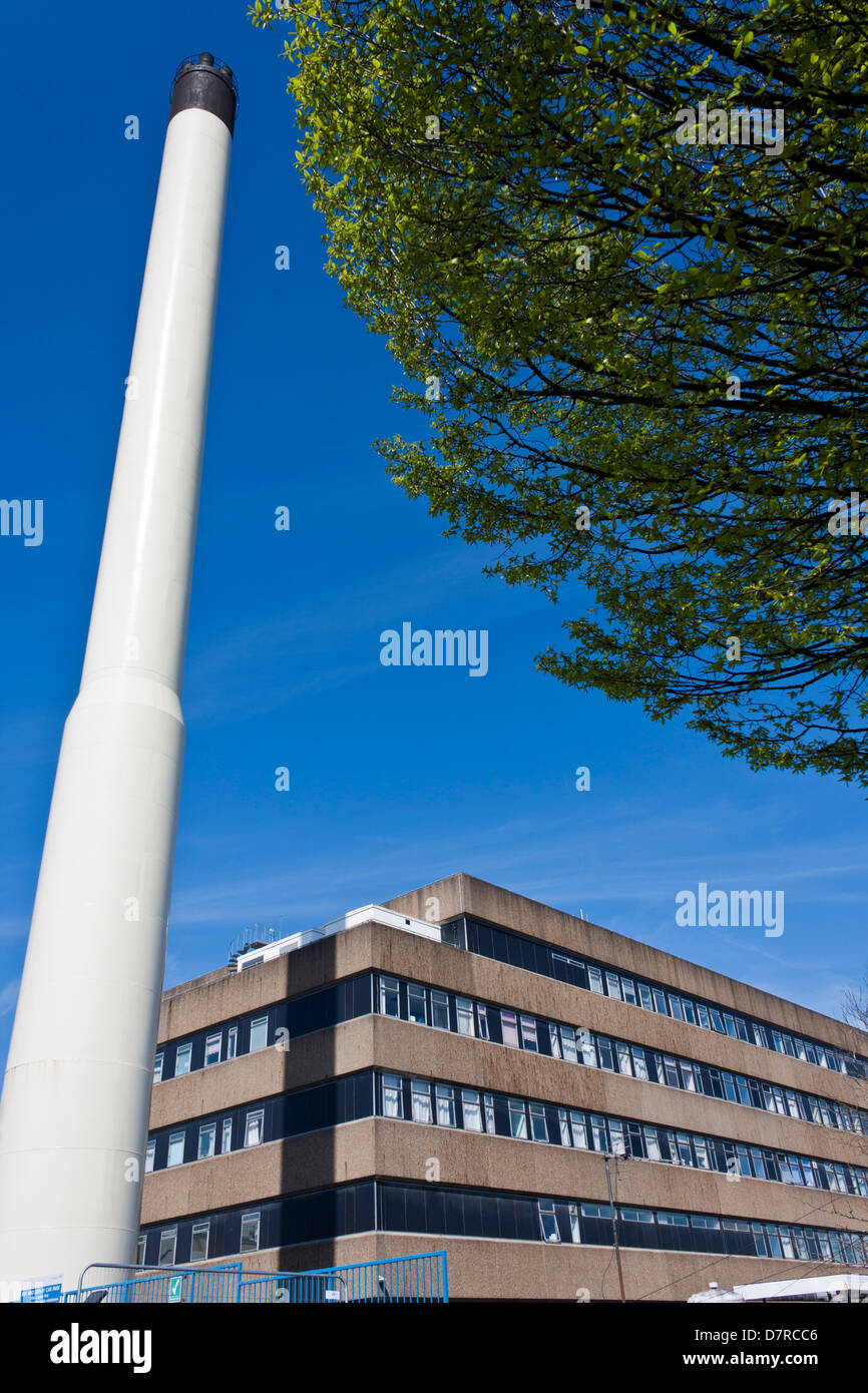 Chimney next to the maternity department at the Royal Berkshire Hospital in Reading, UK. - Stock Image